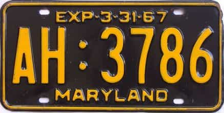 1967 Maryland  (Single) license plate for sale