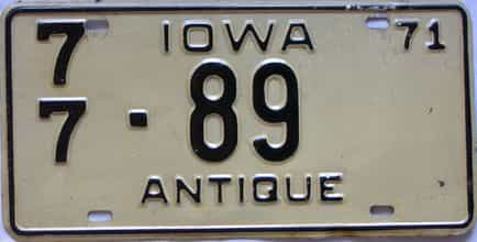 1971 Iowa  (Single) license plate for sale