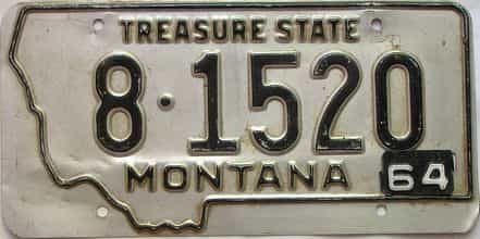 1964 Montana  (Single) license plate for sale