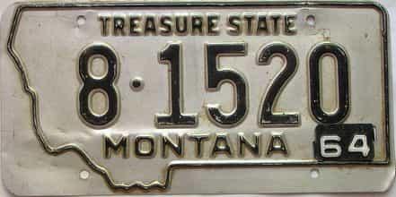 1964 Montana  (Single) license plate for sale