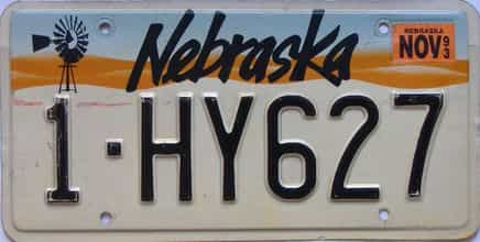 1993 Nebraska  (Single) license plate for sale