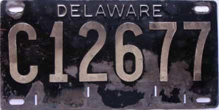 1951 Delaware  (Single) license plate for sale