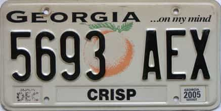 2005 Georgia Counties (Crisp) license plate for sale