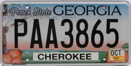 2015 Georgia Counties (Cherokee) license plate for sale
