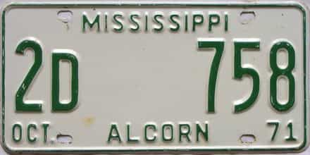 1971 Mississippi license plate for sale