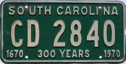 1970 South Carolina  (DMV NOT CLEAR) license plate for sale