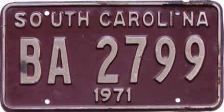 1971 South Carolina  (DMV NOT CLEAR) license plate for sale