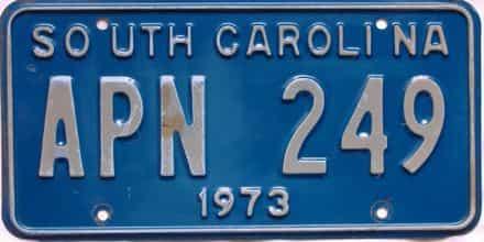 1973 South Carolina  (Single) license plate for sale