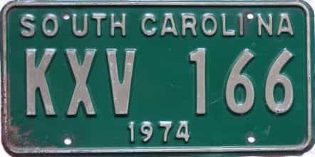 1974 South Carolina  (Single) license plate for sale