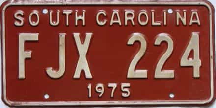 1975 South Carolina  (DMV NOT CLEAR) license plate for sale