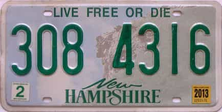 2013 New Hampshire  (Single) license plate for sale