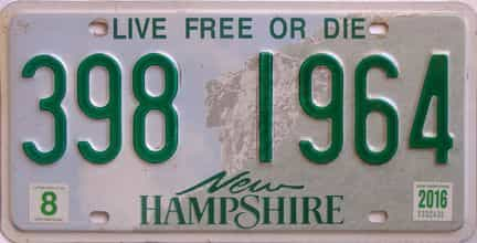2016 New Hampshire  (Single) license plate for sale