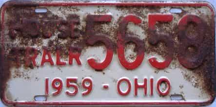 1959 Ohio license plate for sale