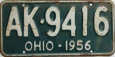 1956 Ohio  (Single) license plate for sale