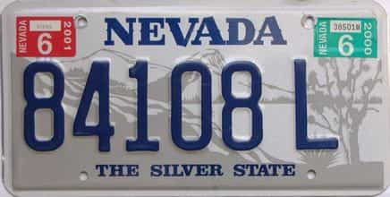 2001 Nevada  (Single) license plate for sale