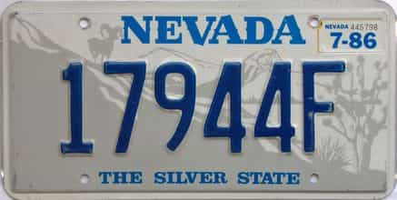 1986 Nevada  (Single) license plate for sale
