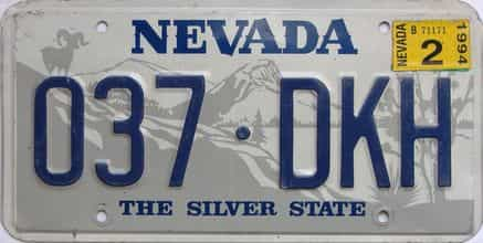 1994 Nevada  (Single) license plate for sale