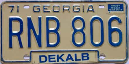 YOM 1973 Georgia YOM 1971 - 1989 license plate for sale