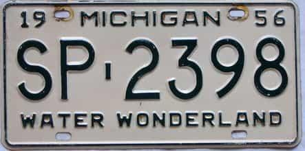 1956 Michigan  (Single) license plate for sale