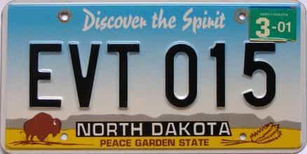 2001 North Dakota  (Single) license plate for sale