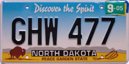 2005 North Dakota  (Single) license plate for sale