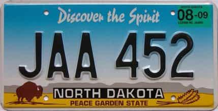 2009 North Dakota  (Single) license plate for sale