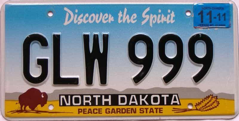 2011 North Dakota  (Single) license plate for sale
