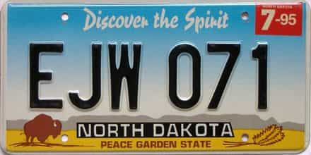 1995 North Dakota  (Single) license plate for sale