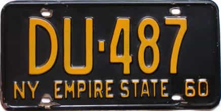 1960 New York license plate for sale