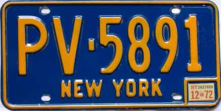 1972 New York  (Single) license plate for sale