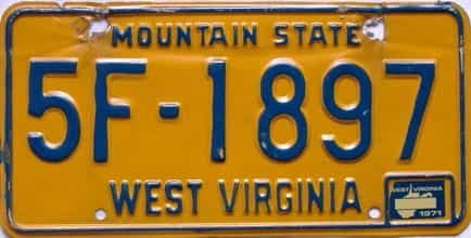1971 West Virginia license plate for sale