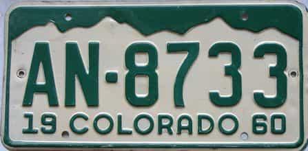 1960 Colorado  (Single) license plate for sale