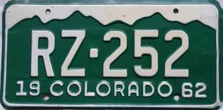 1962 Colorado  (Single) license plate for sale