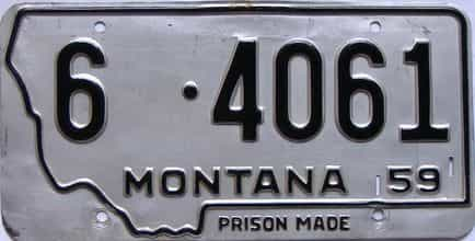 1959 Montana  (Single) license plate for sale