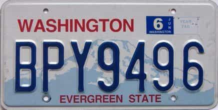 Washington  (Single) license plate for sale