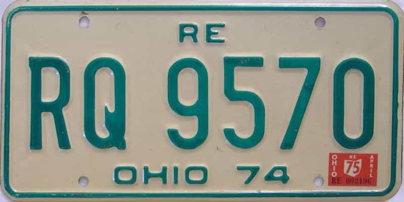 1975 Ohio  (Single) license plate for sale
