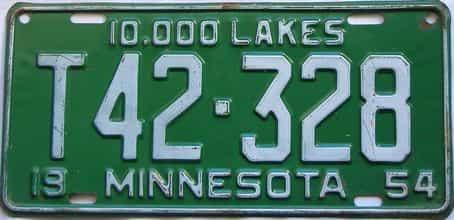1954 Minnesota  (Truck) license plate for sale