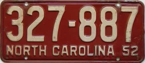1952 North Carolina license plate for sale