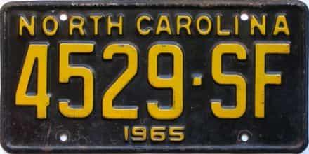 1965 North Carolina  (Truck) license plate for sale