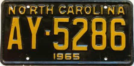 1965 North Carolina license plate for sale