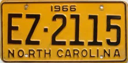 1966 North Carolina license plate for sale