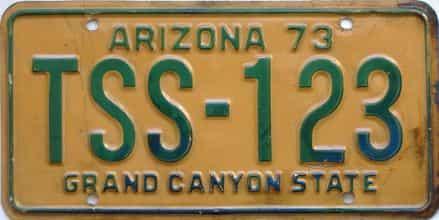 1973 Arizona  (Single) license plate for sale