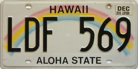 2015 Hawaii  (Single) license plate for sale