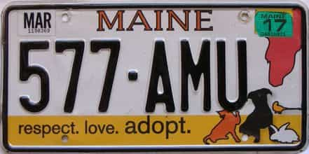 2017 Maine  (Single) license plate for sale