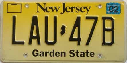 2002 New Jersey  (Single) license plate for sale
