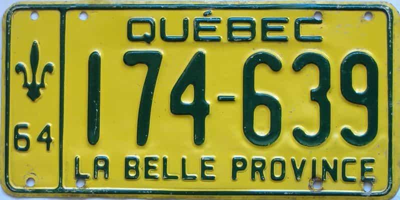 1964 Quebec  (Single) license plate for sale