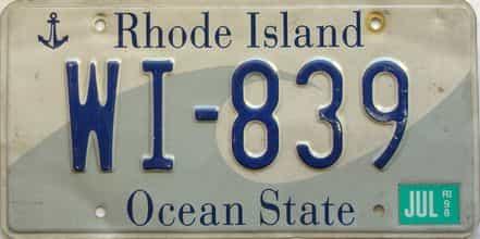 1998 Rhode Island  (Single) license plate for sale