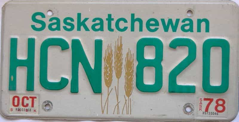 1978 Saskatchewan  (Single) license plate for sale