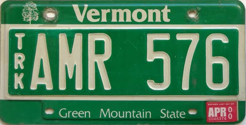 2000 Vermont  (Truck) license plate for sale