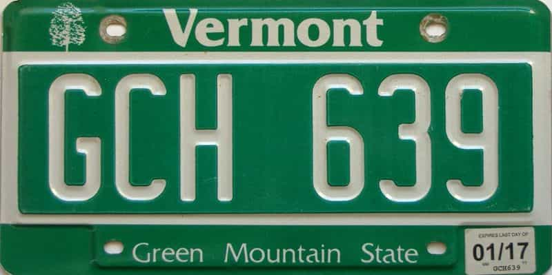 2017 Vermont  (Single) license plate for sale